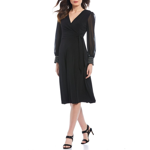 ロンドンタイムス レディース ワンピース トップス Matte Jersey V-Neck Chiffon Long Embellished Cuff Detail Sleeve Midi Dress Black
