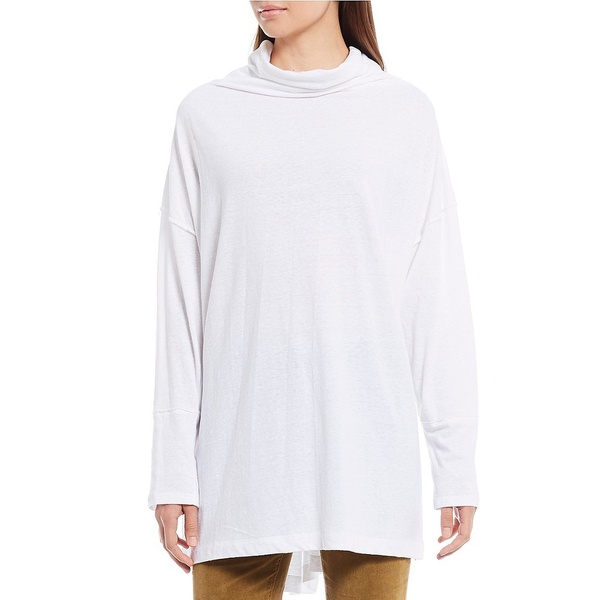 フリーピープル レディース カットソー トップス Bella Vista Mock Neck Long Sleeve Thermal Knit Cotton Blend Top White