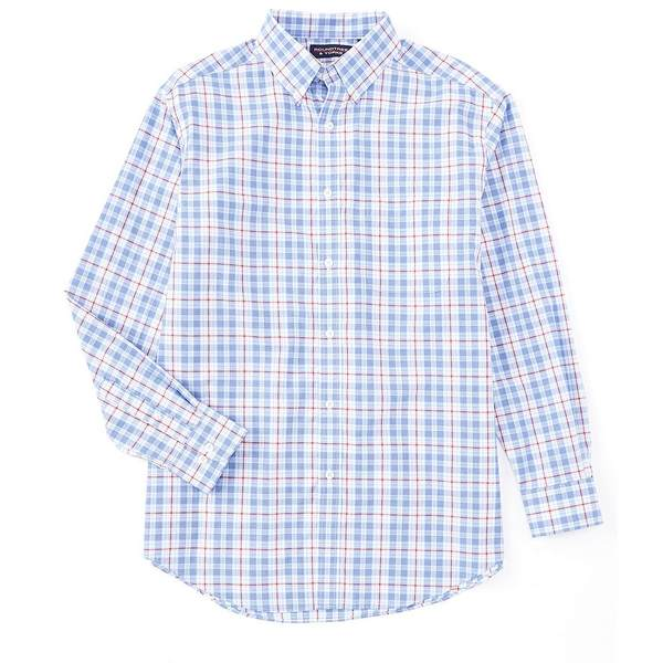 ランドツリーアンドヨーク メンズ シャツ トップス Luxury Cotton Long-Sleeve Linear Plaid Sportshirt Light Periwinkle