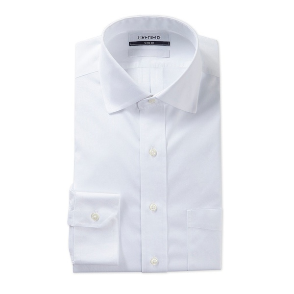 クレミュ メンズ シャツ トップス Non-Iron Slim-Fit Spread-Collar Solid Long Sleeve Dress Shirt White