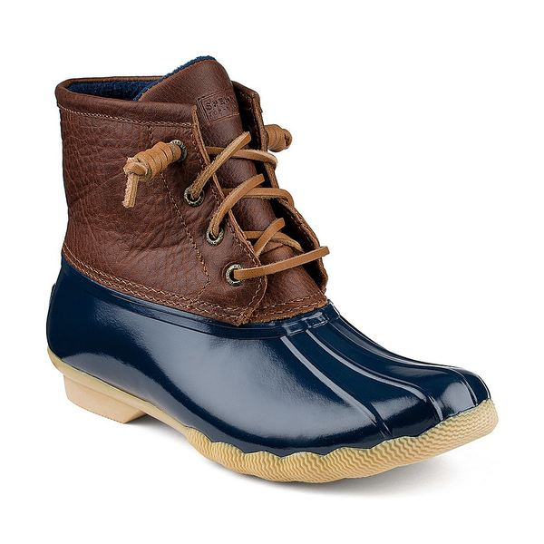 スペリー レディース ブーツ&レインブーツ シューズ Top-Sider Saltwater Women's Waterproof Duck Winter Booties Tan/Navy