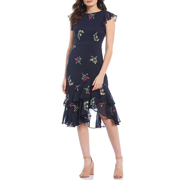 メゾン タラ レディース ワンピース トップス Floral Embroidered Chiffon Ruffle Sleeve Midi Dress Navy Multi