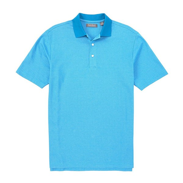 クレミュ メンズ ポロシャツ トップス Daniel Cremieux Signature Jacquard Pattern Short-Sleeve Polo Shirt Aqua Blue