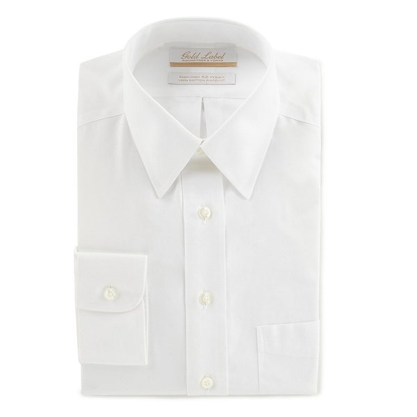 ランドツリーアンドヨーク メンズ シャツ トップス Gold Label Roundtree & Yorke Non-Iron Full-Fit Point-Collar Solid Dress Shirt White