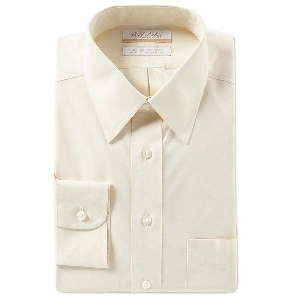 ランドツリーアンドヨーク メンズ シャツ トップス Gold Label Roundtree & Yorke Non-Iron Full-Fit Point-Collar Solid Dress Shirt Ivory