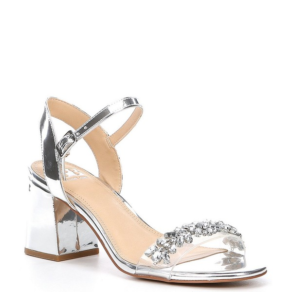 ジービー レディース サンダル シューズ One-Dance Metallic Rhinestone Embellished Clear Strap Dress Sandals Silver