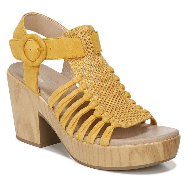 ドクター・ショール レディース サンダル シューズ Dr. Scholl's Beach Front Block Heel Sandal (Women) Gold Yellow Leather