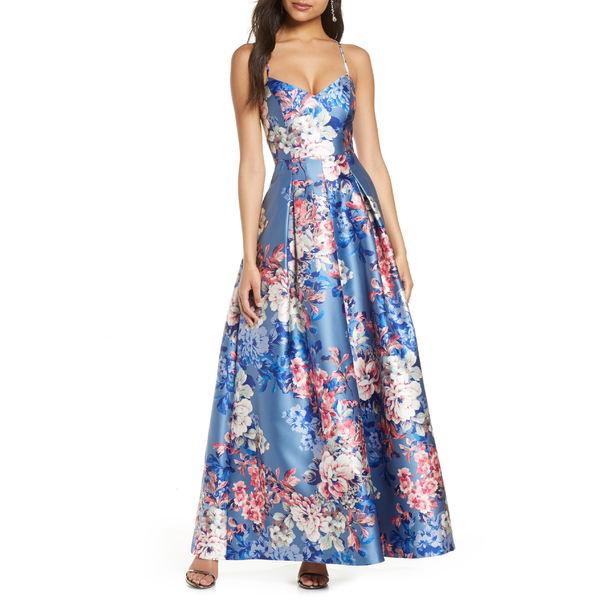 エリザジェイ レディース トップス ワンピース Blue 全商品無料サイズ交換 エリザジェイ レディース ワンピース トップス Eliza J Floral Print Mikado Ballgown Blue
