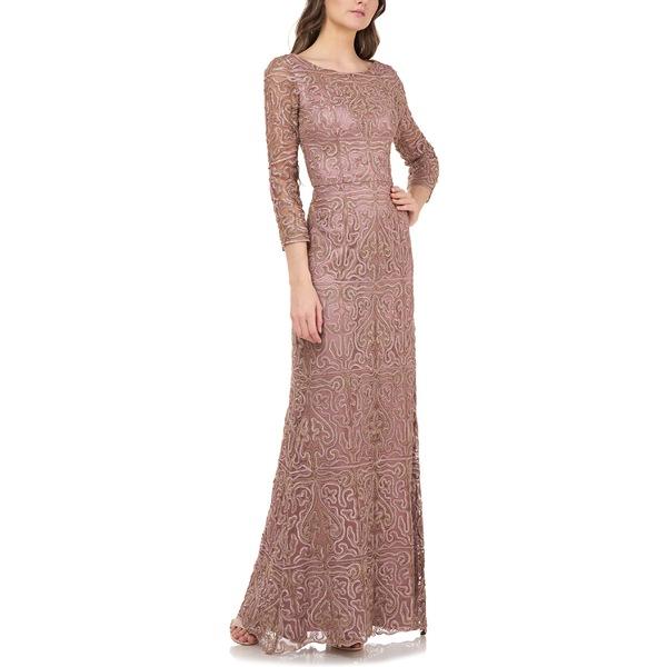 ジェイエスコレクションズ レディース ワンピース トップス JS Collections Metallic Soutache Evening Dress Maple Sugar