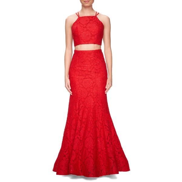 ラフェム レディース ワンピース トップス La Femme Two-Piece Beaded Lace Mermaid Gown Red