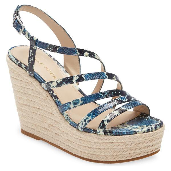 ペレモーダ レディース サンダル シューズ Pelle Moda Ritter Platform Wedge Sandal (Women) Indigo Snake Print