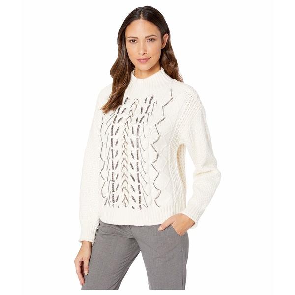 ヴィンスカムート レディース ニット&セーター アウター Chain Trim Cable Stitch Mock Neck Sweater Antique White