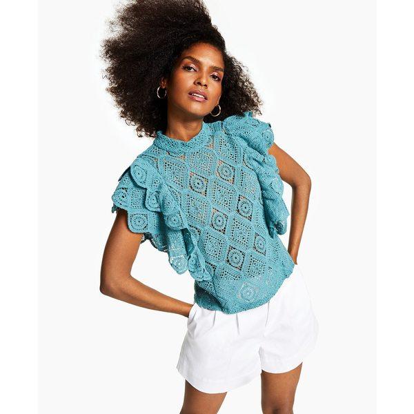 アイエヌシーインターナショナルコンセプト レディース カットソー トップス INC Ruffled Crochet Top, Created for Macy's Aquatic
