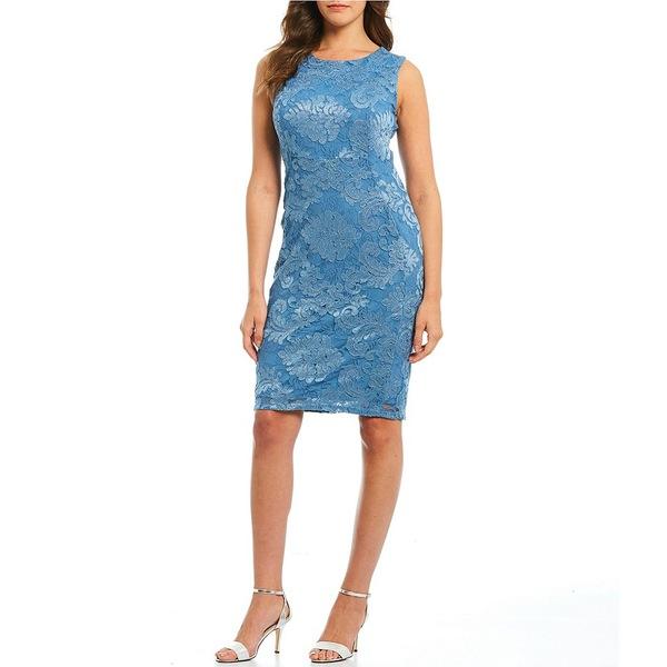 マリーナ レディース ワンピース トップス Embroidered Lace Sleeveless Sheath Dress Peri