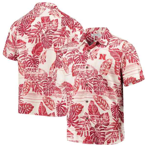 トッミーバハマ メンズ シャツ トップス Nebraska Cornhuskers Tommy Bahama Super Fan Camp Shirt Scarlet