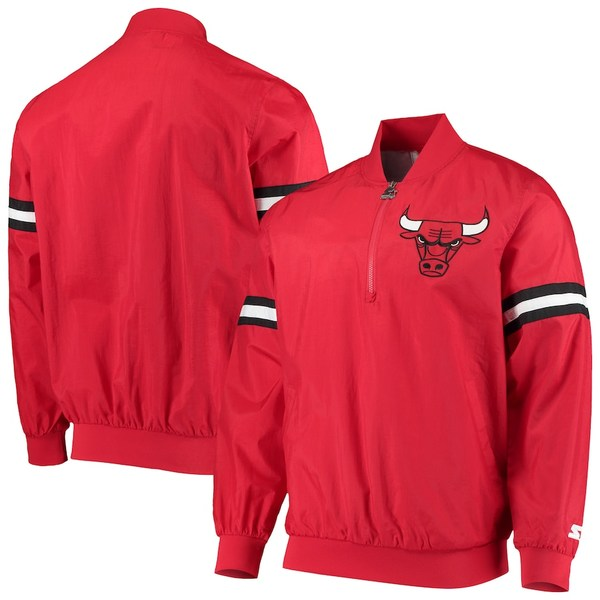スターター メンズ ジャケット&ブルゾン アウター Chicago Bulls Starter The Jet II Crinkle Half-Zip Pullover Jacket Red