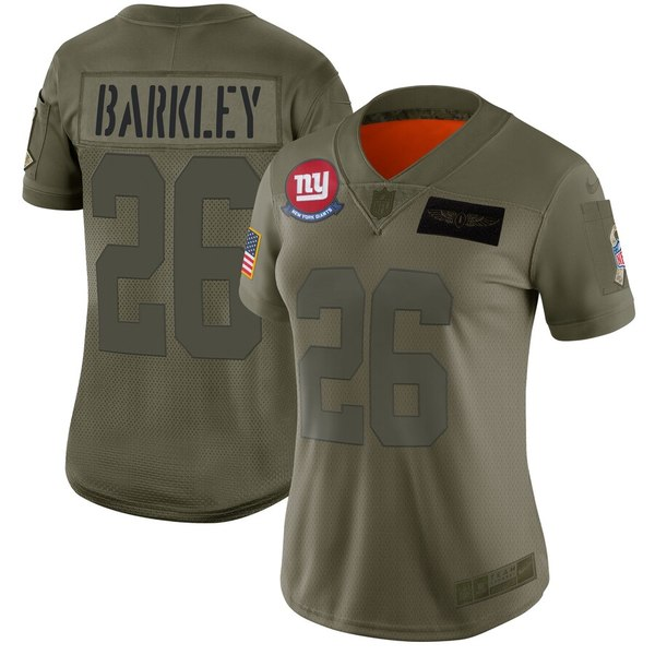 ナイキ レディース シャツ トップス Saquon Barkley New York Giants Nike Women's 2019 Salute to Service Limited Jersey Olive
