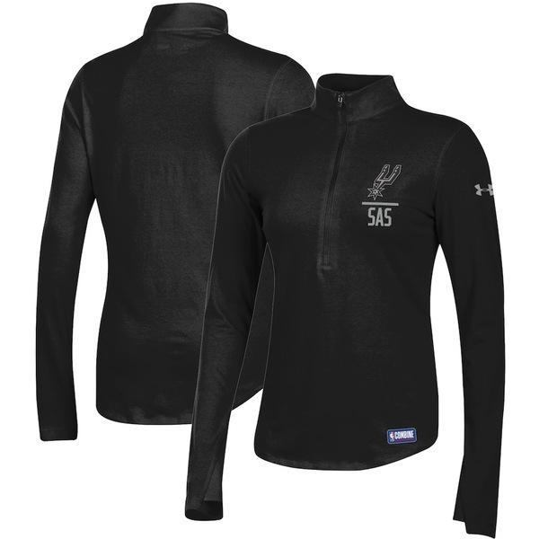 アンダーアーマー レディース ジャケット&ブルゾン アウター San Antonio Spurs Under Armour Women's Combine Authentic Favorites Half-Zip Sweatshirt Black