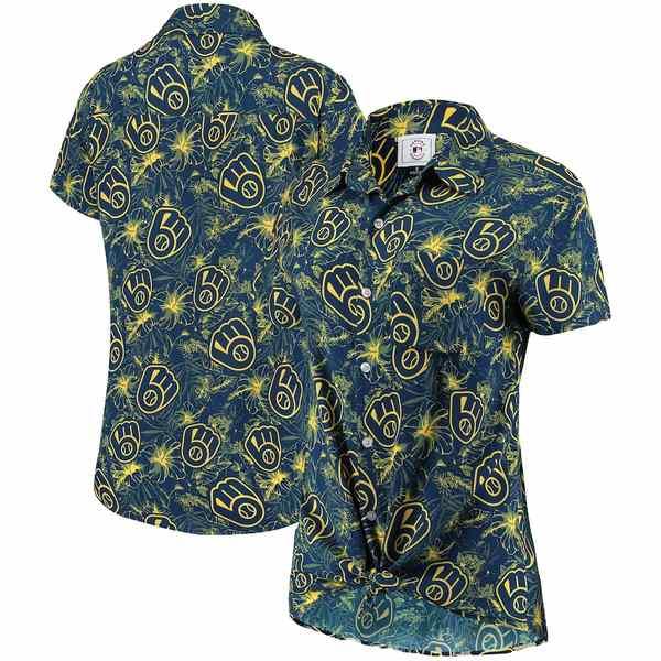 フォコ レディース シャツ トップス Milwaukee Brewers Women's Tonal Print Button-Up Shirt Navy/Gold