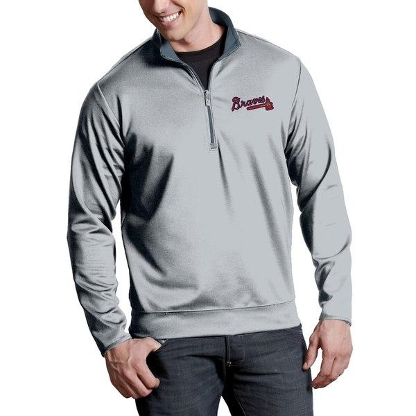 アンティグア メンズ ジャケット&ブルゾン アウター Atlanta Braves Antigua Leader Quarter-Zip Pullover Jacket Silver