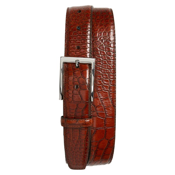 トリノ メンズ ベルト アクセサリー Torino Gator Grain Embossed Leather Belt Cognac