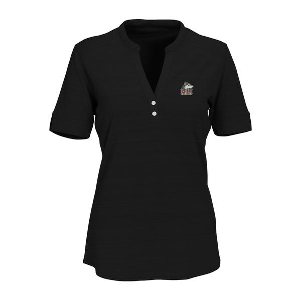 ビンテージアパレル レディース シャツ トップス Northern Illinois Huskies Women's Strata Textured Henley Shirt Black