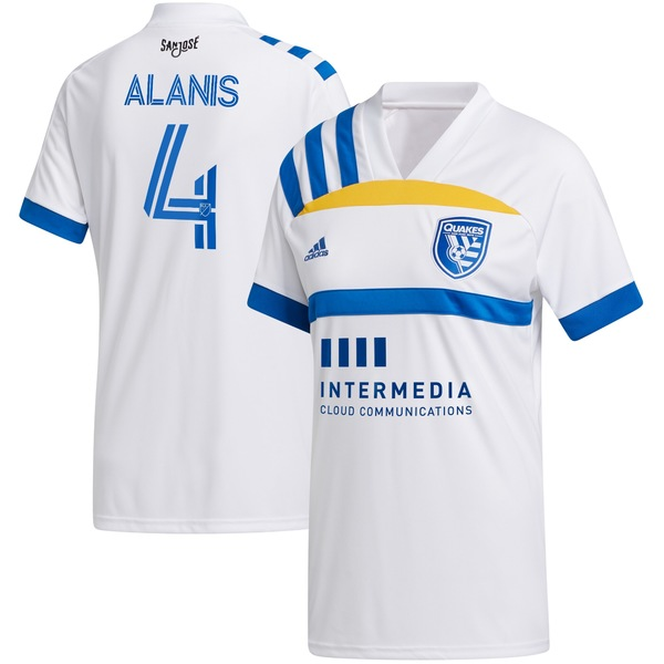 アディダス メンズ ユニフォーム トップス Oswaldo Alanis San Jose Earthquakes adidas 2020 408 Edition Replica Player Jersey White