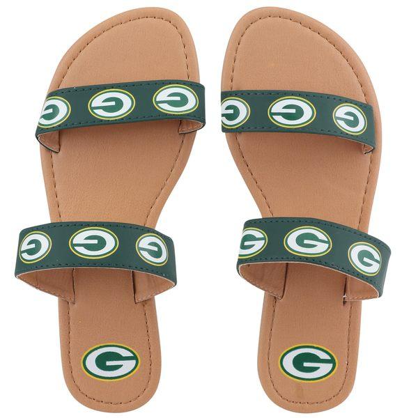 フォコ レディース サンダル シューズ Green Bay Packers Women's Double Strap Sandals