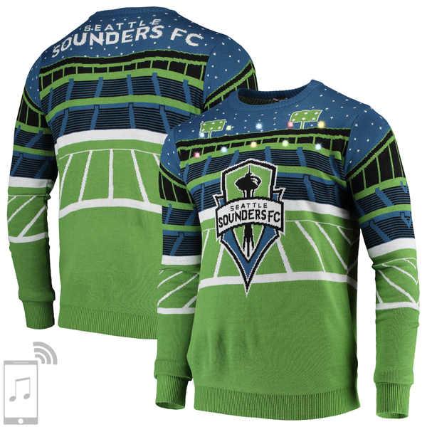 フォコ メンズ シャツ トップス Seattle Sounders FC Bluetooth Speaker Sweater Rave Green