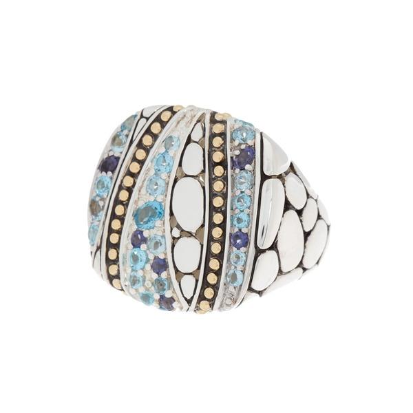 ジョン ハーディー レディース アクセサリー リング 最新アイテム BLUE 全商品無料サイズ交換 18K Gold Sterling Square Sea Stone Silver 7 - 気質アップ Lavafire Ring Size Large