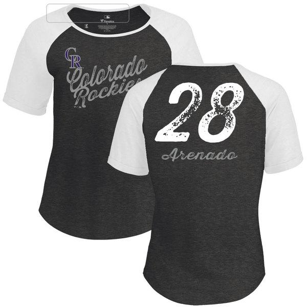 ファナティクス レディース Tシャツ トップス Colorado Rockies Fanatics Branded Women's Personalized Sideline TriBlend TShirt Black
