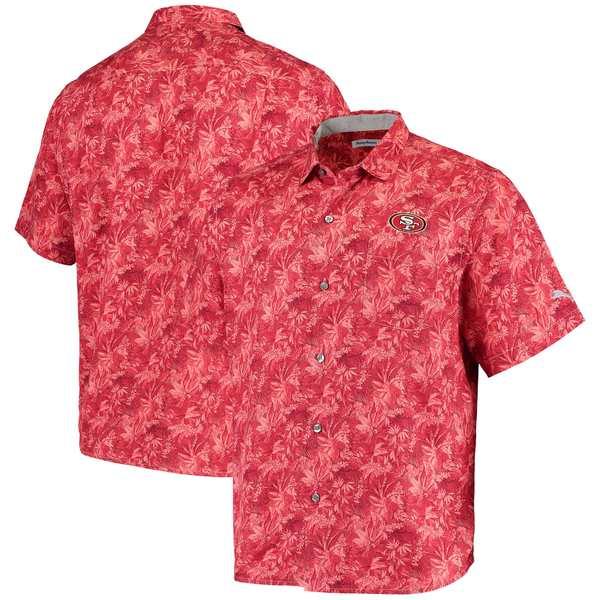 トッミーバハマ メンズ シャツ トップス San Francisco 49ers Tommy Bahama Sport Jungle Shade Camp ButtonDown Shirt Scarlet