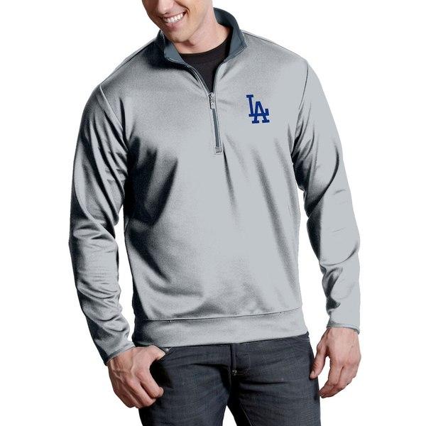 アンティグア メンズ ジャケット&ブルゾン アウター Los Angeles Dodgers Antigua Leader Quarter-Zip Pullover Jacket Silver