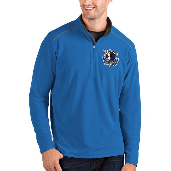 アンティグア メンズ ジャケット&ブルゾン アウター Dallas Mavericks Antigua Glacier Quarter-Zip Pullover Jacket Blue/Gray