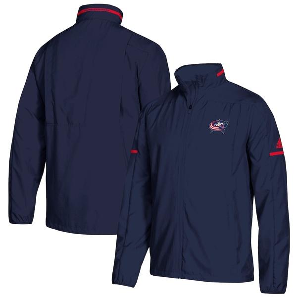 アディダス メンズ ジャケット&ブルゾン アウター Columbus Blue Jackets adidas Rink Full-Zip Jacket Navy