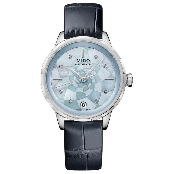 宅配便配送 ミド レディース 腕時計 アクセサリー Women's Swiss Automatic Rainflower Diamond-Accent Blue Leather Strap Watch 34mm Blue, 弥栄村 7d9ab002