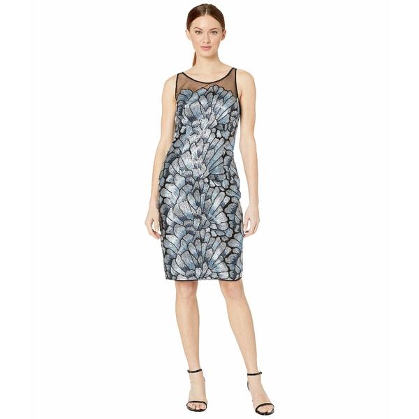 アドリアナ パペル レディース ワンピース トップス Sequin Embroidered Sheath Dress Silver/Blue Multi:asty
