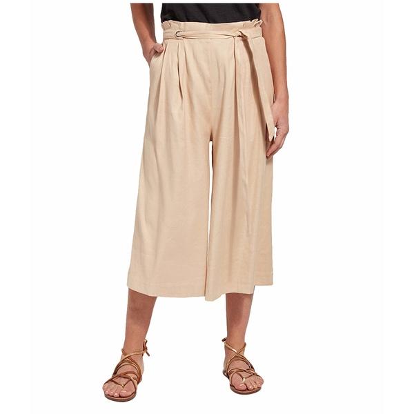 リジー レディース カジュアルパンツ ボトムス Kendra Wide Leg Crop Pants in Stretch Woven Linen Almond