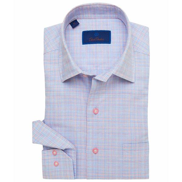 デイビッドドナヒュー メンズ シャツ トップス Plaid Blend Sport Shirt Blue/Pink