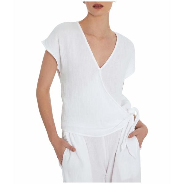スリードッツ レディース シャツ トップス Double Gauze Wrap Kimono Top White
