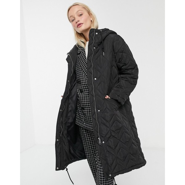 モンキ レディース コート アウター Monki quilted hooded midi coat in black Black