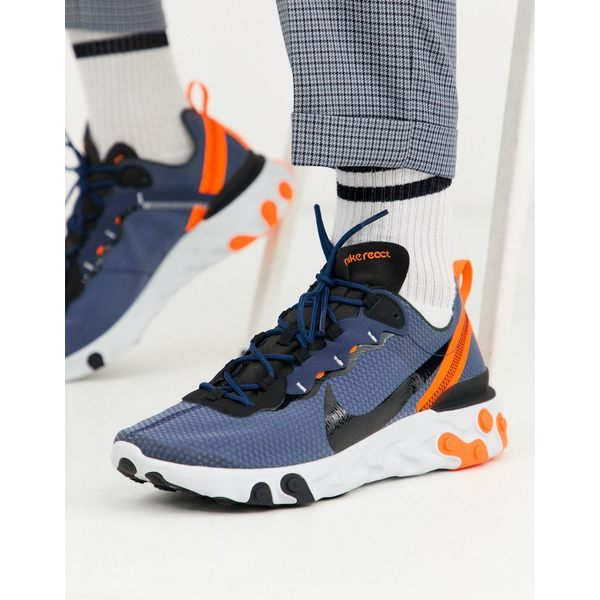 ナイキ メンズ スニーカー シューズ Nike React Element 55 sneakers in navy CI3831-400 Navy
