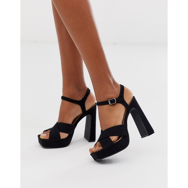トゥラッフル レディース ヒール シューズ Truffle Collection cross strap platform heeled sandals in black Black