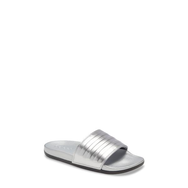 アディダス レディース サンダル シューズ Adilette Comfort Slide Sandal Silver/ Silver/ Black