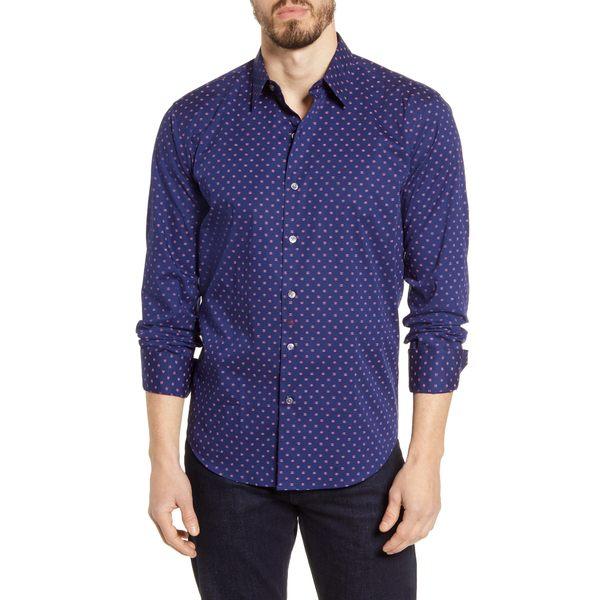 ブガッチ メンズ シャツ トップス Shaped Fit Button-Up Shirt Navy