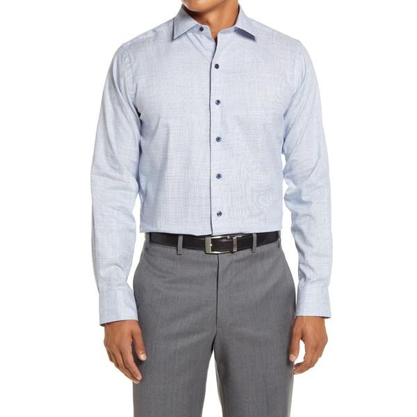 デイビッドドナヒュー メンズ シャツ トップス Trim Fit Dress Shirt Blue