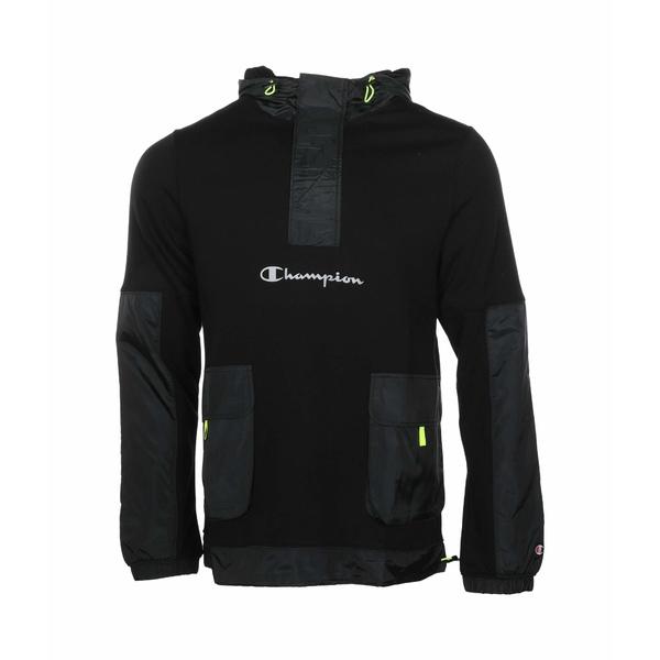 チャンピオン メンズ コート アウター Sideline 1/2 Zip Pullover w/ Woven Piecing Black