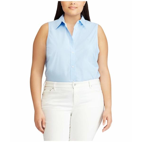 ラルフローレン レディース シャツ トップス Plus Size No-Iron Sleeveless Shirt Blue