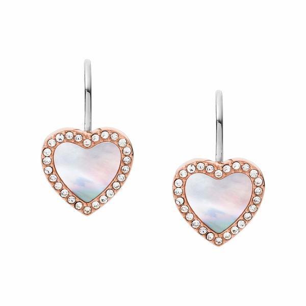 フォッシル レディース ピアス&イヤリング アクセサリー Hearts To You Mother-of-Pearl Stainless Steel Drop Earrings Rose Gold Tone