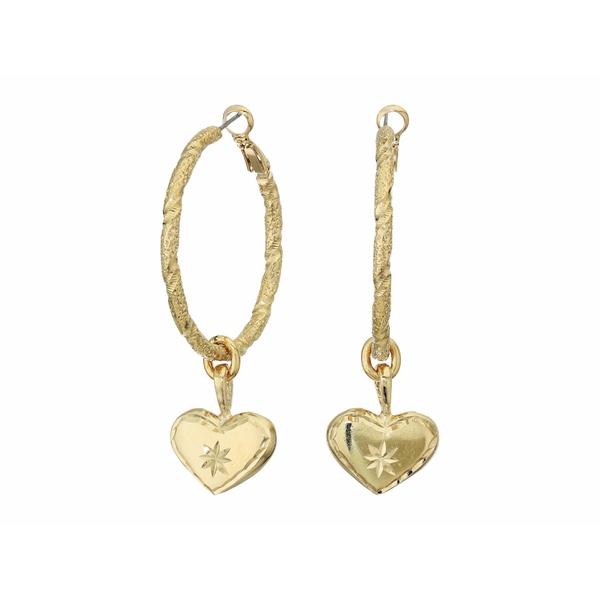 バネッサモーネイ レディース ピアス&イヤリング アクセサリー The Etched Heart Hoop Earrings Gold